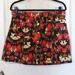 Urban Outfitters Snap Front Floral Mini Skirt